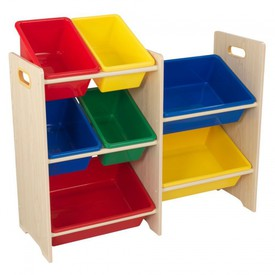 Dřevěný regál s barevnými boxy Natur