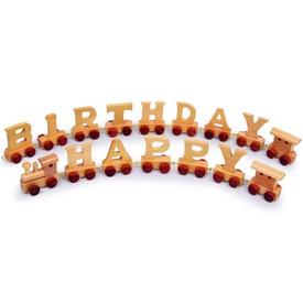 Dřevěné hračky - Vláčkodráha - Vláček Happy Birthday
