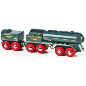 Vláček vláčkodráhy - Rychlý šedý vlak s vagonem