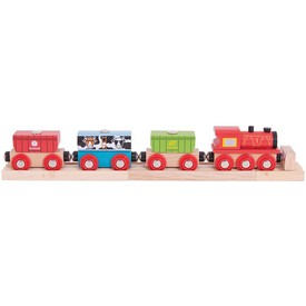 Vláček vláčkodráhy Bigjigs Rail - Vlak s potravinama
