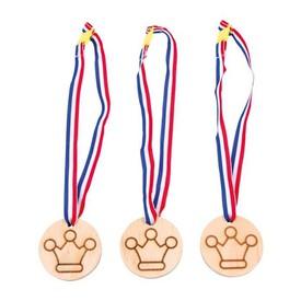 Dřevěná medaile korunka  3 ks