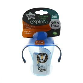 TOMMEE TIPPEE Netekoucí hrnek s brčkem Explora Easy drink 230 ml modrý