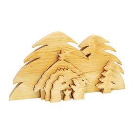 Dřevěná vánoční ozdoby - 3D Jesličky Betlém