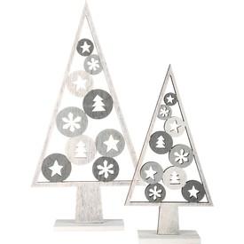 Vánoční dekorace stromeček svétlý 2 ks