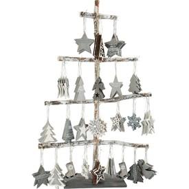 Dřevěný dekorační stromeček závěsný 144 ks