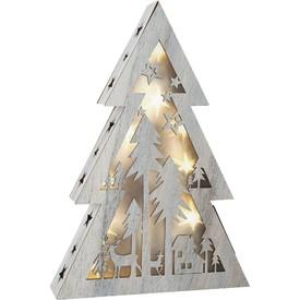 Dřevěný vánoční stromeček se světlem malý