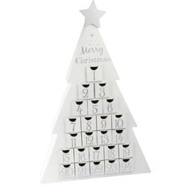 Dřevěný adventní kalendář - Vánoční stromeček bílý