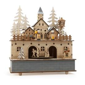 Dřevěná hrací skříňka se světlem - Zimní vesnice
