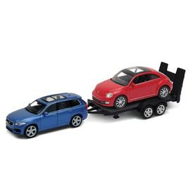 Welly - Volvo CX90 (modré) a VW Beetle (červené) autopřívěs model 1:34
