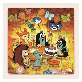 Dřevěné puzzle paní Krtečková a dort 20dílků