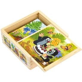 Dřevěné kostky paní Krtečková 9ks