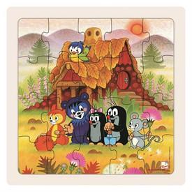 Dřevěné puzzle paní Krtečková a přátelé 20dílků