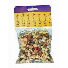 Dřevěné hračky-Dřevěné korálky - Mix perlí hnědopřírodní 70g