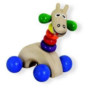 Dřevěné hračky - Dřevěná žirafa na kolečkách