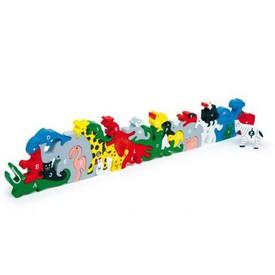 Dřevěné hračky - Zvířata s písmeny a číslicemi - Poškozená krabička