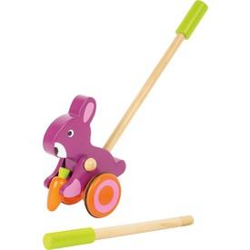 Dřevěný jezdík - Růžový králík s mrkví