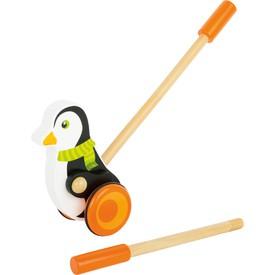 Dřevěný jezdík - Tučňák s šálou