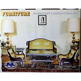 Dřevěná skládačka - Obývací pokoj barevný PC008