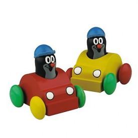 Dřevěné hračky - Dřevěný Krtek v autíčku - pískající