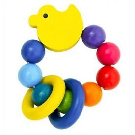 Dřevěné hračky pro nejmenší -  Kačenka s kroužky