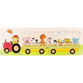Vkládací puzzle - Traktor se zvířátky