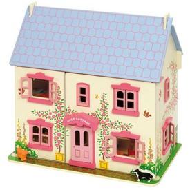 Bigjigs Toys dřevěný růžový domeček pro panenky - rozbaleno