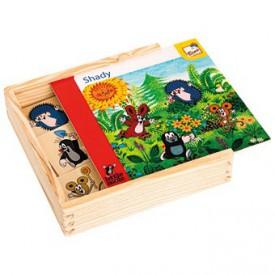 Dřevěné hračky -  Co kam patří, stíny - Krtek
