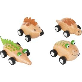 Dřevěné zvířátkové autíčko 1ks