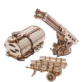 Ugears dřevěná stavebnice 3D mechanické Puzzle - Nástavba cisterna a hasičský vůz k Truck UGM-11