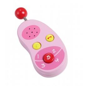 Dřevěné hračky - Dřevěný růžový mobilní telefon
