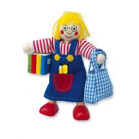 Dřevěné hračky - Panenka do domečku školačka