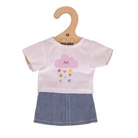 Bigjigs Toys bílé tričko s riflovou sukní pro panenku 35 cm