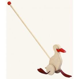 Dřevěné hračky - Kachna na tyči - natur   červená