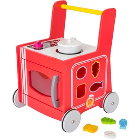Dřevěný vozíček kuchyňka červená