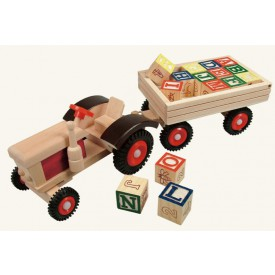 Dřevěné hračky - Traktor s gumovými koly a vlečkou ABC