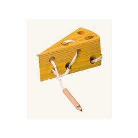 Dřevěné hračky - motorické hry - Šití- Sýr