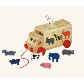 Dřevěné hračky - Skládací kamion se zvířaty