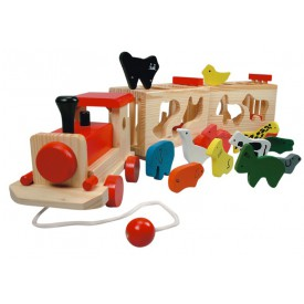 Dřevěné hračky - Dřevěný vlak se zvířátky - Zoo Trenino