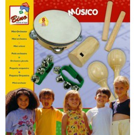 Dřevěné hračky - hudební nástroje - Mini-orchestr, 8 dílu
