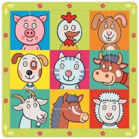 Dřevěné hračky -  Puzzle zvířecí hlavičky