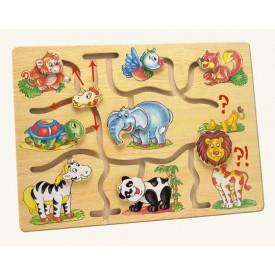 Dřevěné hračky - Motorický labyrint- Najdi hlavu zvířátka