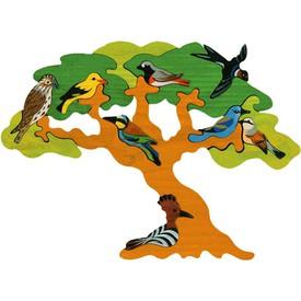Dřevěné vkládací puzzle z masivu - Strom stěhovaví ptáci