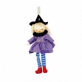 Dřevěné hračky na pružině - Figurka na pružině – čarodějka