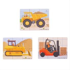 Bigjigs Toys puzzle 3v1 stavební stroje