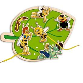 Dřevěné hračky-motorické hry- Včelka Mája - šití -list