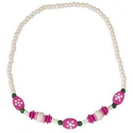 Dřevěné hračky - dřevěné korálky - Dětský náhrdelník bílý