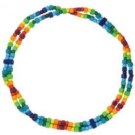 Dřevěné hračky - dřevěné korálky - Dětský náhrdelník duhový