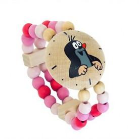 Dřevěné hračky - Náramek - Hodinky s Krtkem růžové