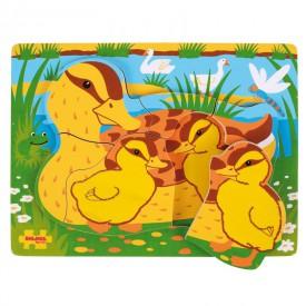Bigjigs Baby Dřevěné vkládací puzzle kachny