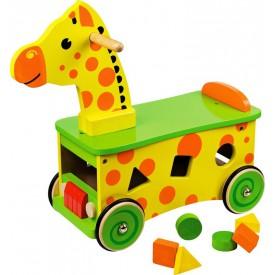 Bigjigs Baby Dřevěný motorický vozík žirafa
